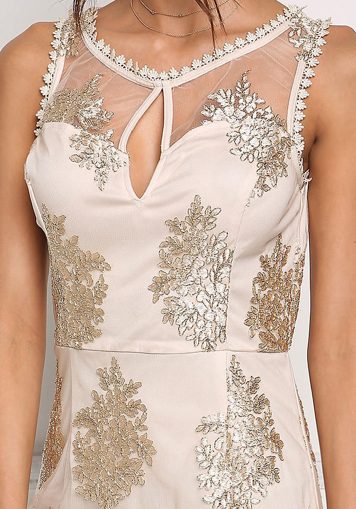 Nude Embroidered Tulle Bodycon Dress - Going Out - Dresses