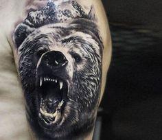 Bear tattoo by Andrey Stepanov