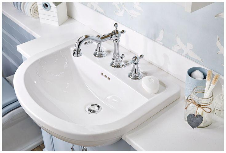 The monet round semi-recessed basin with traditionally styled regent basin mixer #Roseberry #paintedtimber #bathroomfurniture #myutopia