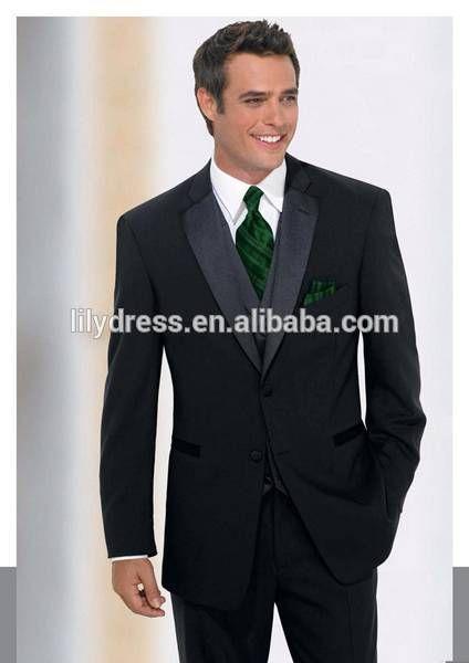Black Design Formal Custom made Slim Fit Tailored Mans Wedding Suits Sets (Jacket+Pants+Vest+Tie) WS049 new suit designs for men