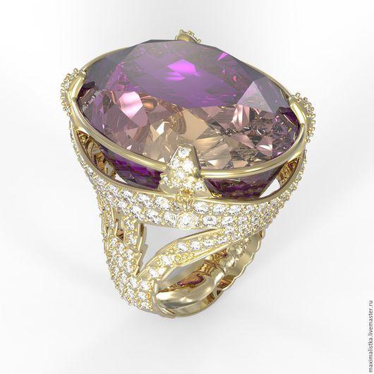 """Золотое кольцо """"Лиловый рассвет"""" с аметрином и бриллиантами, золото"""