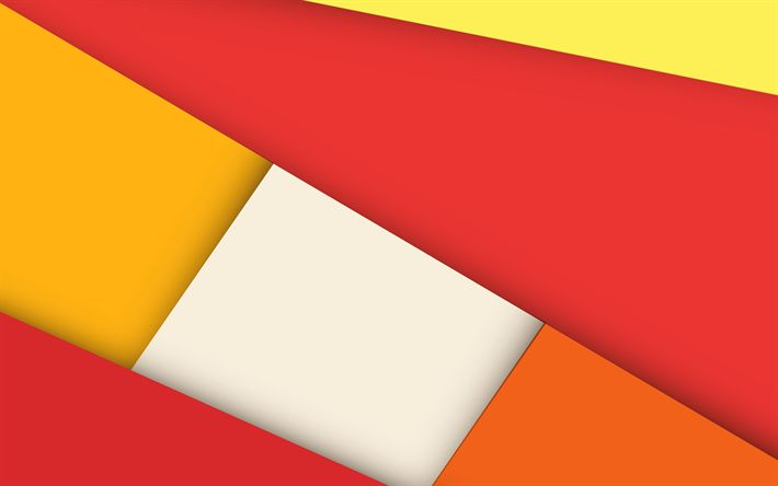 Download wallpapers red orange abstraction, lines, rectangles, material design, android