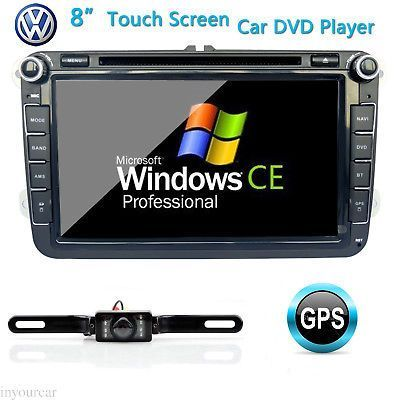 ﹩178.40. GPS Navigation BT InDash 8Car Stereo CD DVD Player For VW Golf Jetta Polo Skoda (  Features - MP3 Player, Screen Size - 8in., Unit Size - 2 DIN, - 1 Year, Operating System - Windows CE 6.0, Screen Resolution - 800x480, Display Ratio - 16:9, Backup Camera - Night Vision, GPS - YES, built in, Gift - Free camera-maps     )