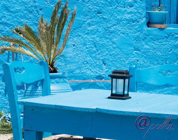 Beautiful village by the sea. Next to Pylos and Costa Navarino. Marathos or Marathoupoli. Blue color. Thallasinos restaurant.