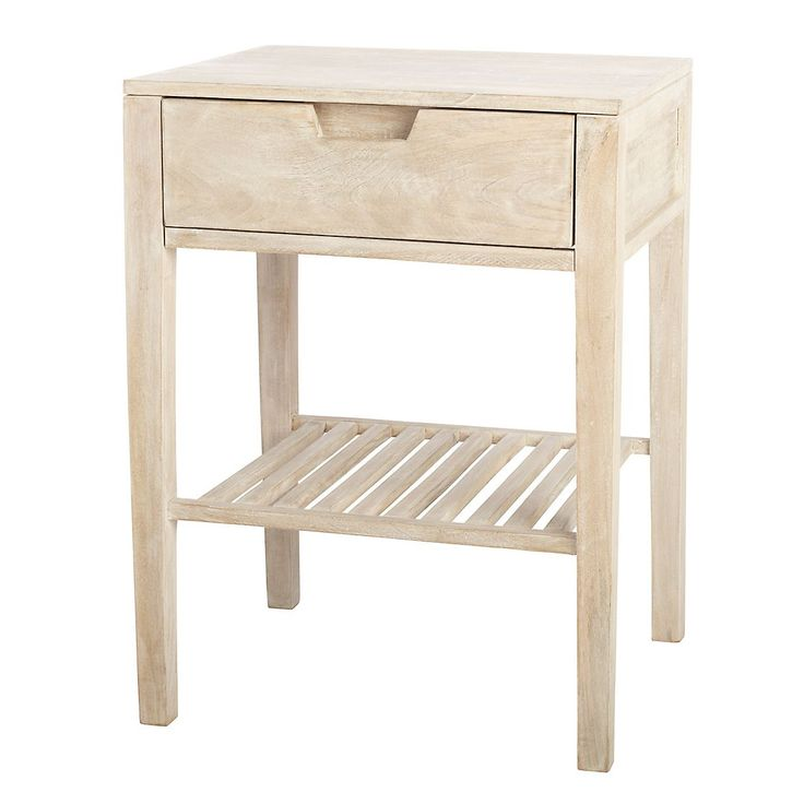 Crafted of richly grained mango wood, this versatile accent table offers simple lines and two unique finishes. Single drawer and open shelf.