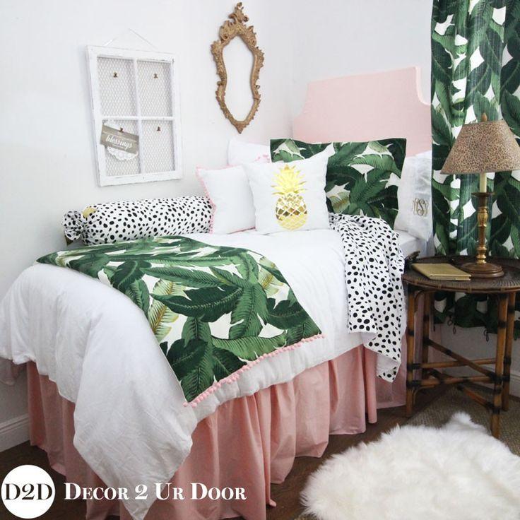Palm Leaf & Pastel Pink Designer Dorm Bedding Set awesome tropical college dorm room for girls Dorm room decor