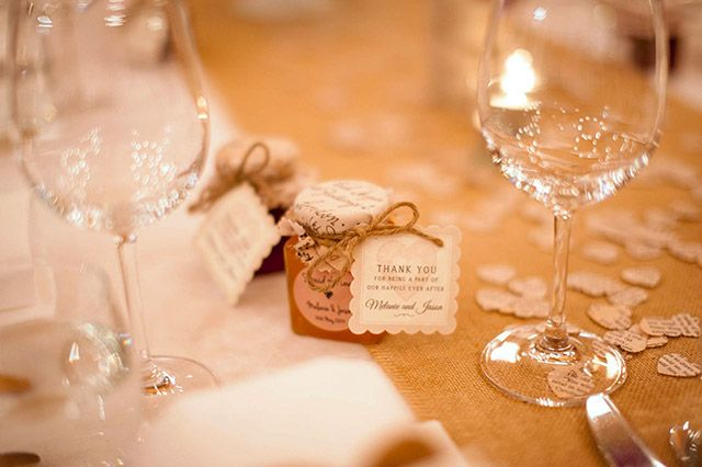 Guests were gifted mini jam jars as bomboniere with labels reading 'Spread The Love'. Image: Solas Photography