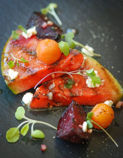 Grilled Watermelon Salad with Cherry Tomatoes & Charred Beets