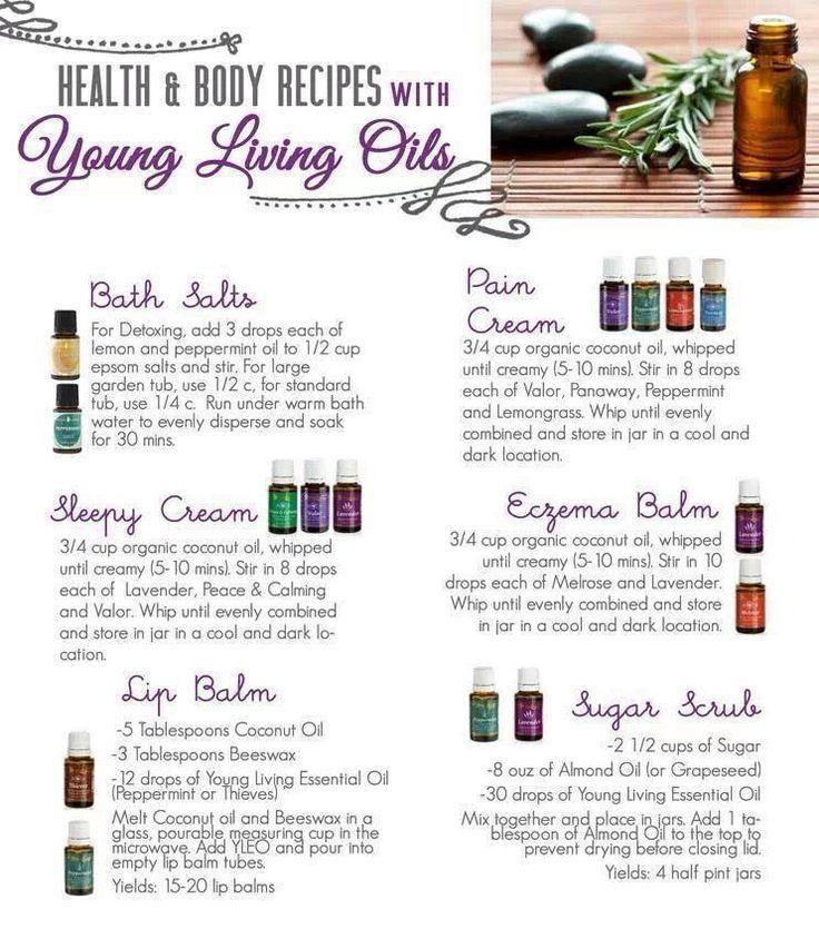 Recipes using Young Living Essential Oils. Sleep cream, pain cream, eczema balm, sugar scrub, bath salts, and lip balm.: