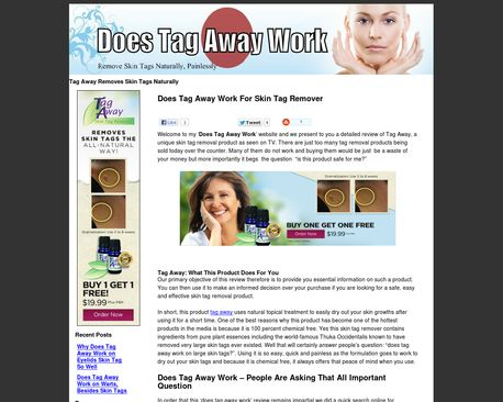 http://www.doestagawaywork.com/ | Discover Tag Away to remove skin tags on eyelids, moles, warts - Tag Away Skin Tag Remover is a homeopathic remedy made from all-natural plant extracts that help eliminate the harmless skin overgrowths without any pain. It removes skin tags naturally using Thuja Occidentalis known for tag-removing properties.