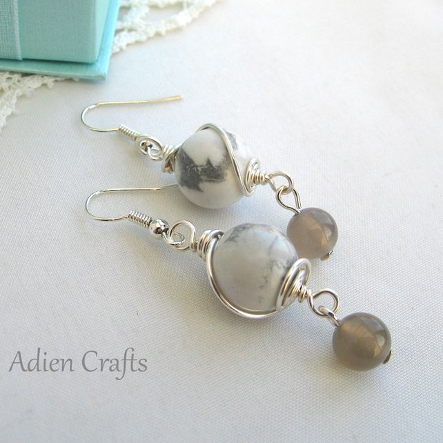 Howlite Wire Wrapped Earrings £7.95