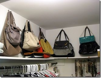 Hang Purses. Genius. i have them in hangers but i can give this a shot!
