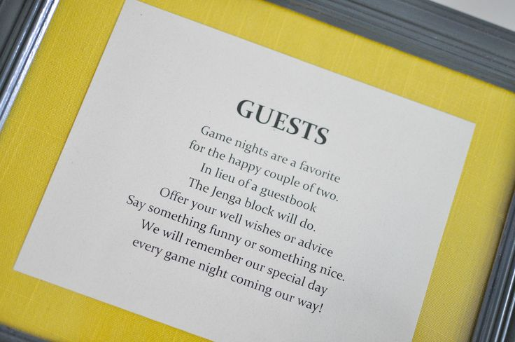 Sign for Jenga guest book at our wedding! <3