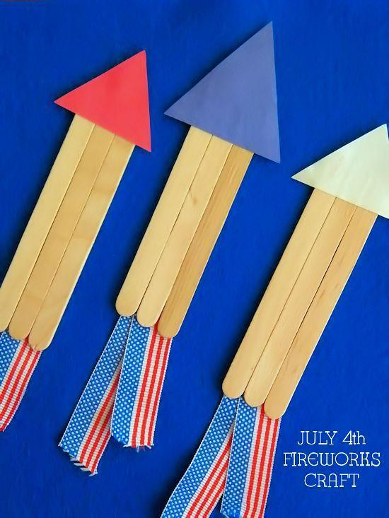 Craft Stick July 4th Fireworks Craft, Independence Day Kids Craft
