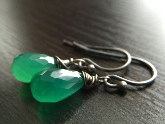 Witchy, Gothic, Halloween, Green, Grass, Tree Green onyx earrings!