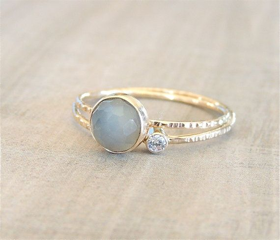 Gold Stack Ring Set Grey Moonstone Ring Moissanite Ring White Gold Ring E