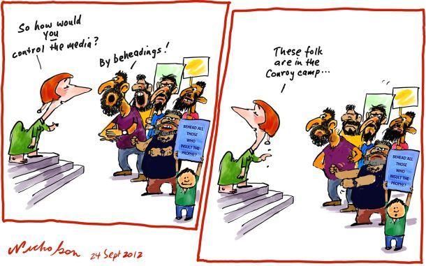 Media regulation Finkelstein Conroy Prophet insults beheading cartoon 2012-09-24: Cartoon 2012 09 24, Nicholsoncartoon Com Au Media, Behead Cartoon, Cartoon 20120924
