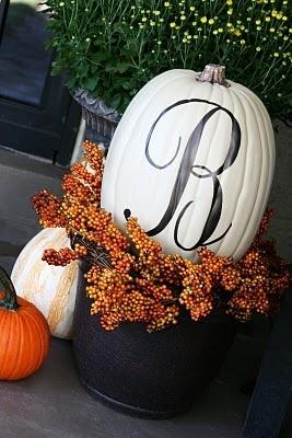 great for fallFall Pumpkin, Decor Ideas, Monograms Pumpkin, Fall Decor, Front Doors, White Pumpkin, Fall Porches, Holiday Decor, Front Porches