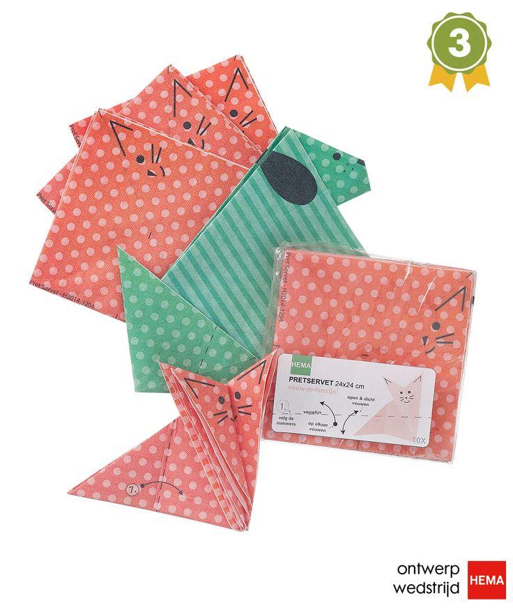 De Pret Servet van Evelien Habing (TU Delft) heeft de derde plaats veroverd. Dit leuke product maakt van elk kind een origami artiest.
