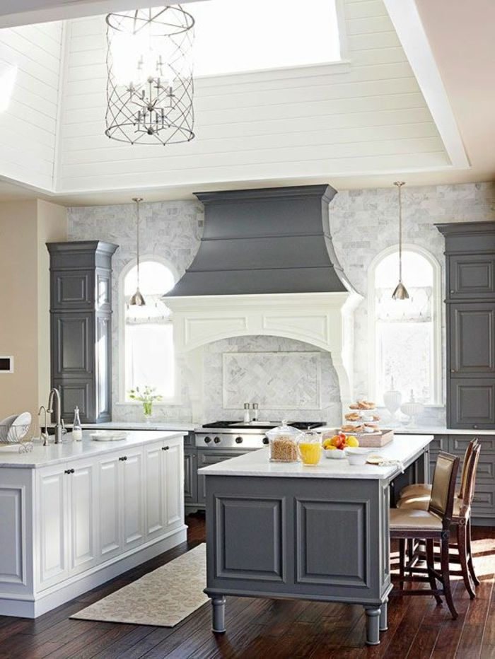 quelle couleur pour une cuisine, modele de cuisine moderne, cuisine gris anthracite
