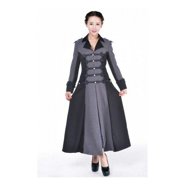 Military Style 2 Tone Gothic Long Coat for Women ❤ liked on Polyvore featuring outerwear, coats, longline coat, long military coat, goth coat, military inspired coat and military style coat