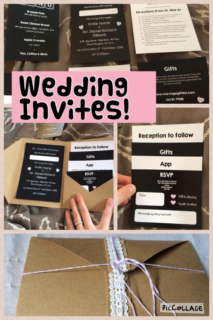 Our homemade wedding invitations black sand blush