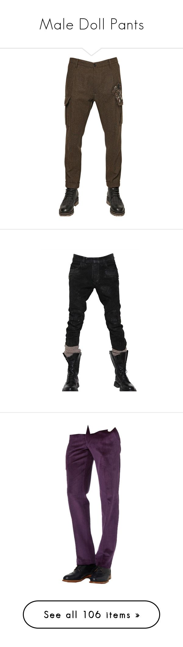 """""""Male Doll Pants"""" by kbarkstyle ❤ liked on Polyvore featuring men's fashion, men's clothing, men's pants, men's casual pants, military green, mens cuffed pants, mens wool pants, mens wool cargo pants, mens cargo pants and mens olive green cargo pants"""