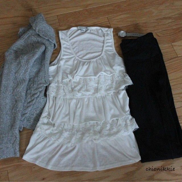 Grey Sweater- Banana Republic Tank- Forever 21 Leather leggings- Online