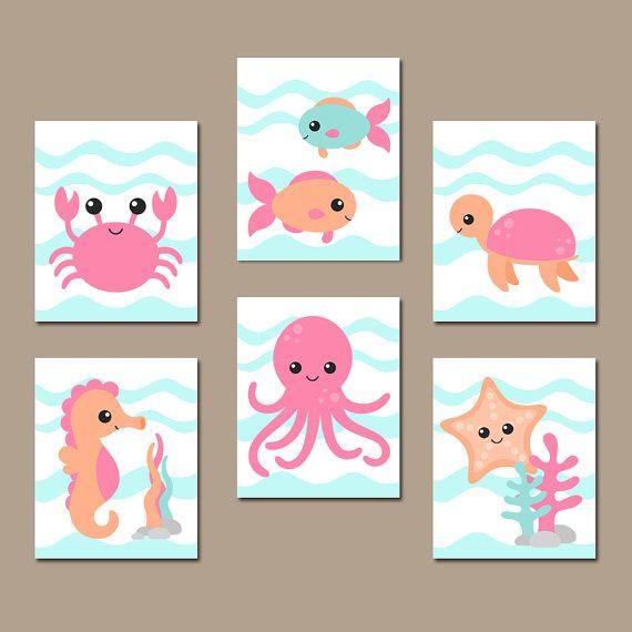 GIRL OCEAN Nursery Wall Art Nautical Theme Bathroom by TRMdesign