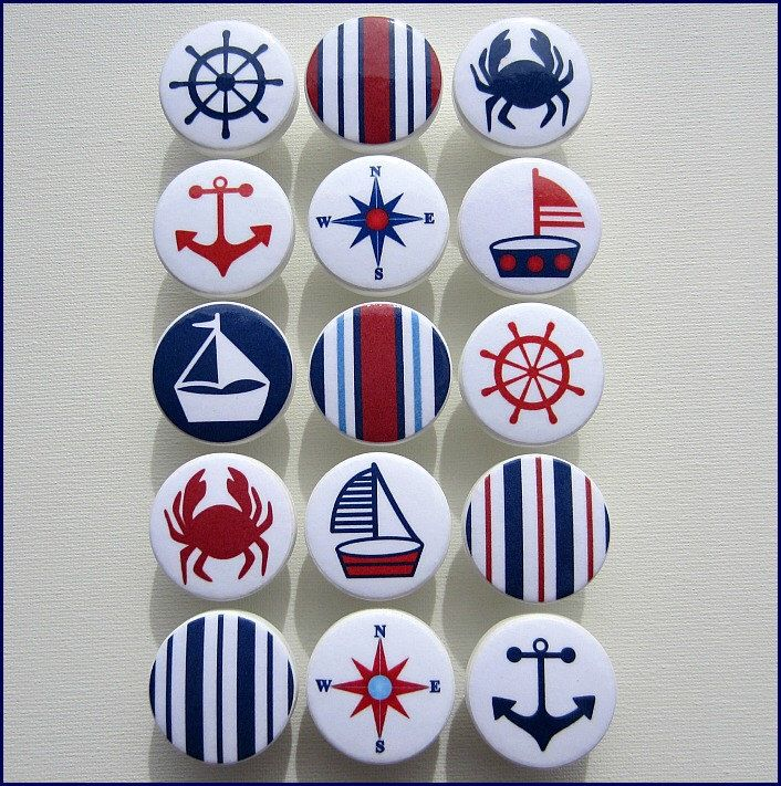 Nautical Drawer Knobs • Anchor Knobs • Red • Navy • Sailboat  • Helm • Stripes • Sailboat Knobs • Wood Knobs by SweetPetitesBoutique on Etsy https://www.etsy.com/listing/161292083/nautical-drawer-knobs-anchor-knobs-red