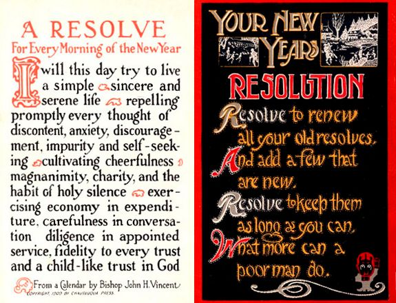 """Photo: New Year's resolutions postcards from the early 20th century. Source: Wikimedia Commons. Read more on the GenealogyBank blog: """"Genealogy Resolution for the New Year: Make a 'To-Do' List."""" https://blog.genealogybank.com/genealogy-resolution-for-the-new-year-make-a-to-do-list.html"""