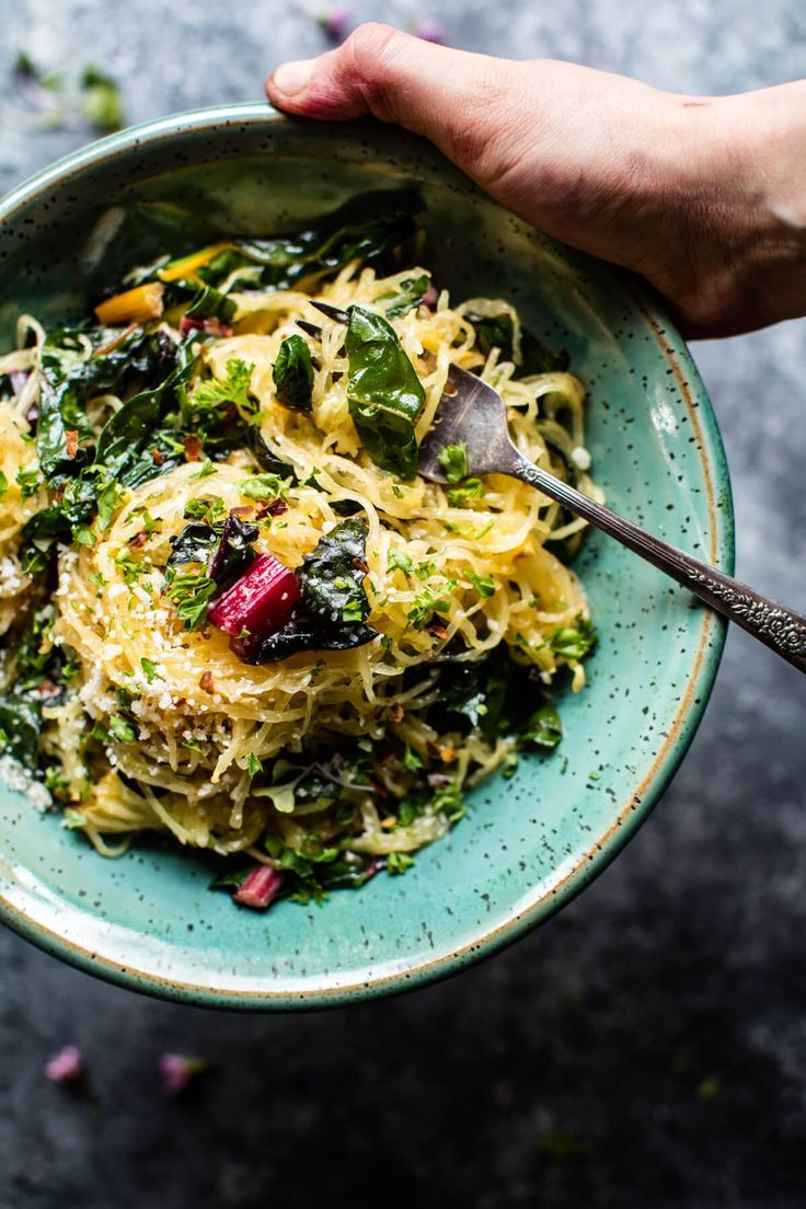 Spaghetti Squash Aglio E Olio with Rainbow Chard | http://halfbakedharvest.com /hbharvest/