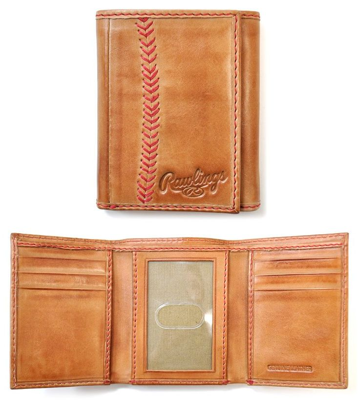 Vintage Baseball Stitch Trifold Leather Wallet by Rawlings<br>ONLY 3 LEFT!