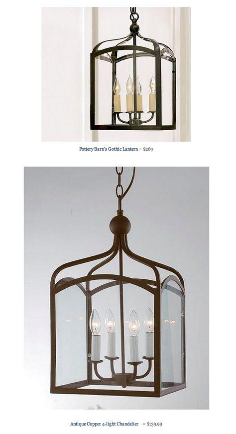 COPY CAT CHIC FIND: Pottery Barn's Gothic Lantern VS Antique Copper 4-light Chandelier