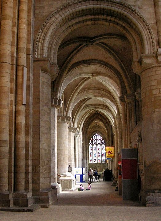 The aisles at Peterborough Cathedral have quadripartite ribbed vaults. (The nave has an ancient painted wooden ceiling.)