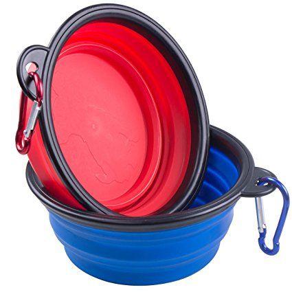 ZWOOS Pieghevole Ciotola del cane Leggero e Pieghevole Ciotole da Viaggio per i Cani e Gatt Domestici Acqua Ciotola con Moschettone,2-Pack. (rosso e blu)
