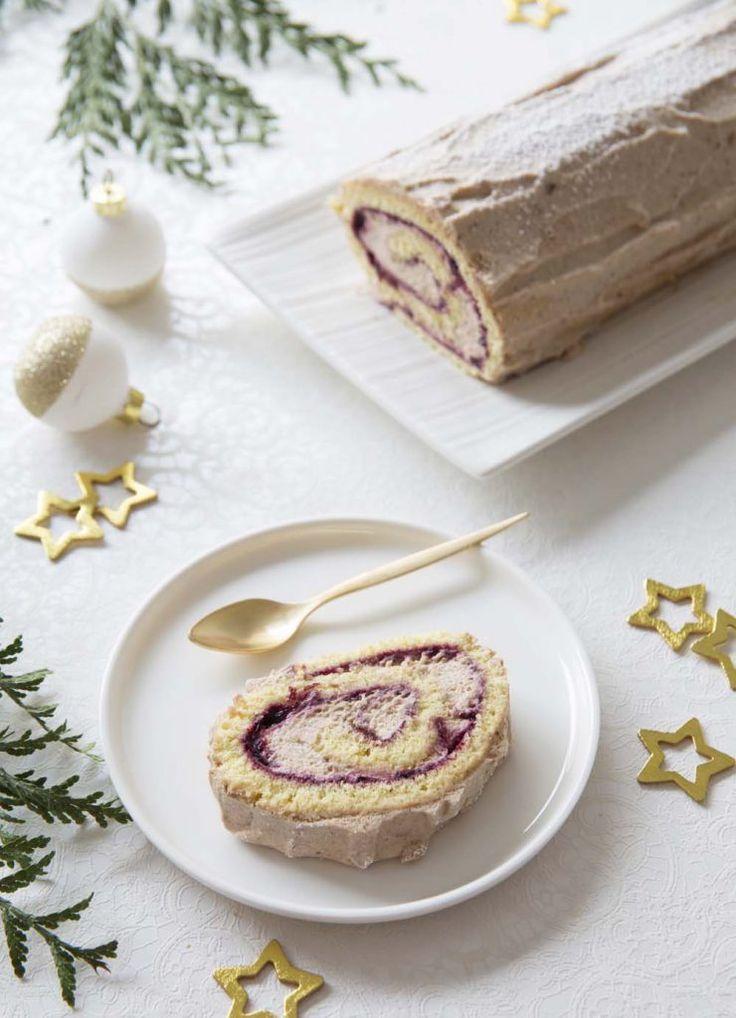 Bûche de Noël légère cassis marrons - Biodelices.fr