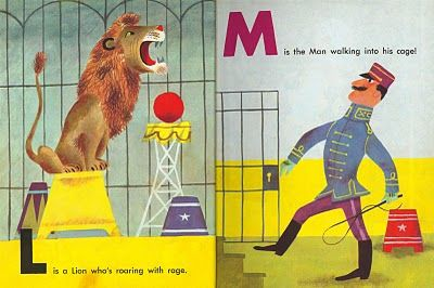 From The Circus ABC 1955.Illustrated by J.P. Miller, written by Kathryn Jackson. via golden gems