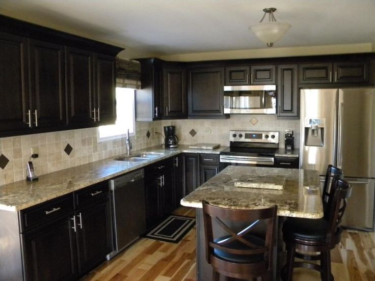dark cabinets light granite kitchens pinterest