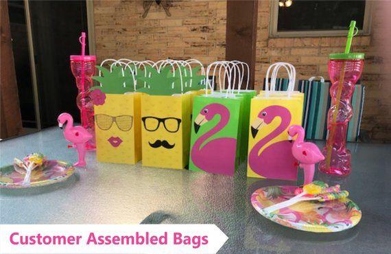 Flamingo Favor Bags/ Flamingo Party Theme/ Flamingo Birthday/ Flamingo Party Bags/ Flamingo Pineapple Party/ DIY Flamingo Party Decorations