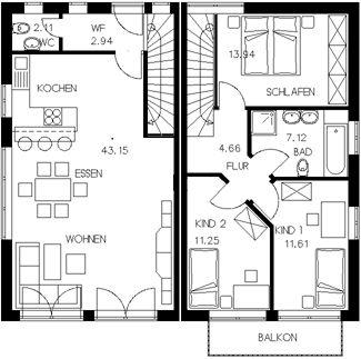 ber ideen zu hausbau grundriss auf pinterest fertigteilhaus haus bauen und haus bungalow. Black Bedroom Furniture Sets. Home Design Ideas