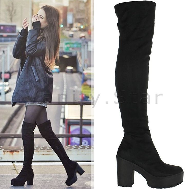 WOMENS LADIES THIGH HIGH OVER THE KNEE CHUNKY PLATFORM HEEL STRETCH BOOTS SIZE in Clothes, Shoes & Accessories, Women's Shoes, Boots | eBay!