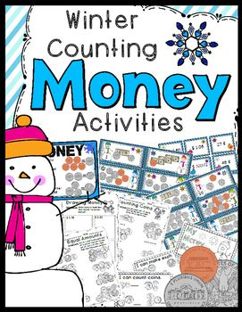 Counting Money Activities: Winter money game, worksheets, anchor chart, make-your-own-money book - Super fun activities for learning how to count money!Game5 Activity SheetsMake Your Own Money BookAnchor ChartAnswer KeysGame: Counting Coins (some bills included)30 sets of money task cards, a game board, instruction/title cards, and answer key5 Activity Sheets:1.