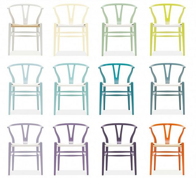 Room and Board chairs: Wishbone Chairs, Colour, Interior, Wegner Wishbones, Chairs Colorful, House, Furniture, Rainbow, Classic