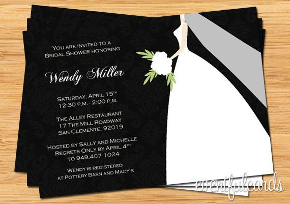 Black and White Damask Bridal Shower Invitation by eventfulcards, $15.99