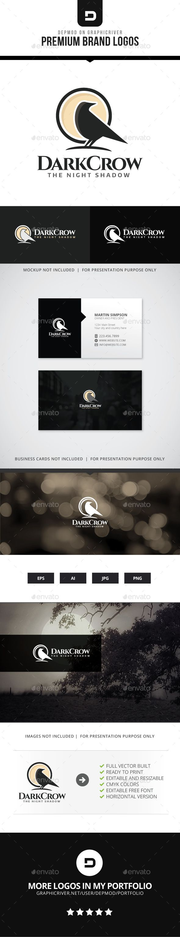 Dark Crow Logo — Transparent PNG #brand #animal • Available here → https://graphicriver.net/item/dark-crow-logo/15604199?ref=pxcr
