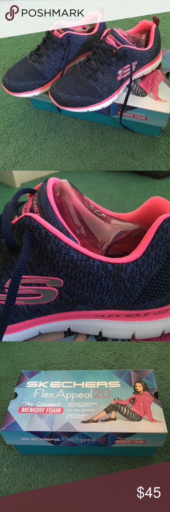 Skechers Flex Appeal 2.0 Sneakers Skechers Women's Flex Appeal 2.0 - High Energy Navy/Pink, Size 8.5 US, comes in original packaging and box, bought online from Zappos, only worn once to a park, knit-look, memory foam, comes with both navy and pink laces Skechers Shoes Sneakers