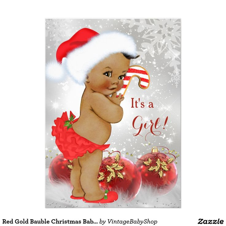 Red Gold Bauble Christmas Baby Shower Ethnic 5x7 Paper Invitation Card