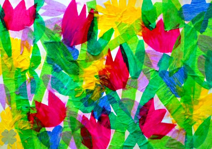Spring inspired tissue paper collage - art project for kids.