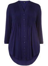 Evans Navy Pintuck Shirt
